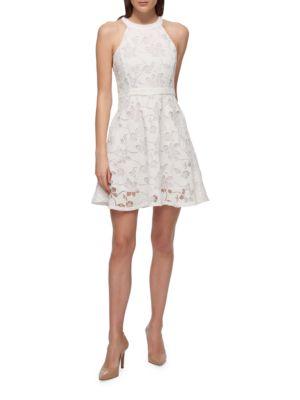 Halterneck A-Line Floral Lace Dress by Guess