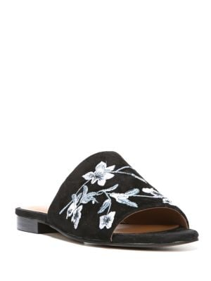 Ellie Floral Embroidered Suede Slides by Franco Sarto