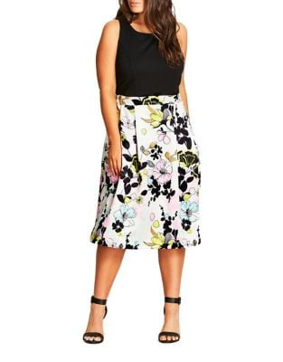 Plus Sleeveless Floral-Print Dress by City Chic