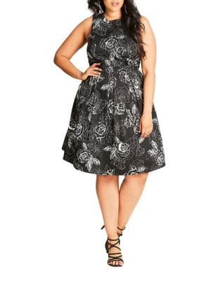 Plus Floral-Print Fit-&-Flare Dress by City Chic