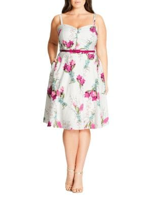 Plus Belted Floral-Print Dress by City Chic