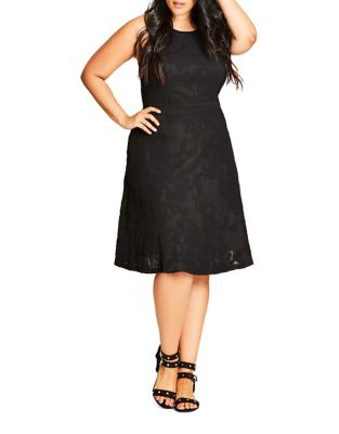 Photo of Plus Fit-&-Flare Embroidered Dress by City Chic - shop City Chic dresses sales