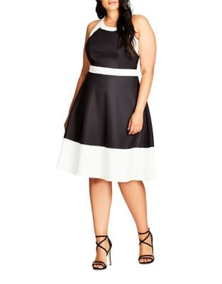 Plus Sleeveless Colorblock Dress by City Chic