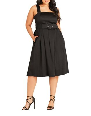 Plus Solid Belted Dress by City Chic