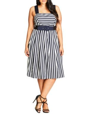 Plus Sleeveless Striped Dress by City Chic