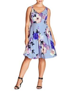 Plus Floral Print Dress by City Chic