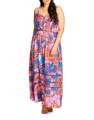 Plus Sleeveless Printed Dress by City Chic