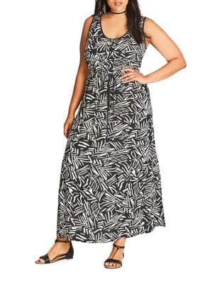 Plus Sleeveless Printed Gown by City Chic