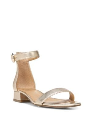 Swan Metallic Leather Sandals by Franco Sarto