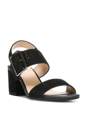 Morgan Ankle-Buckle Leather Sandals by Franco Sarto