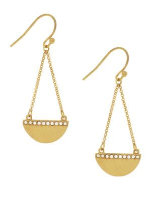 3/25 Madison Ave Pave Core Half Moon Chain Drop Earrings 500087037940