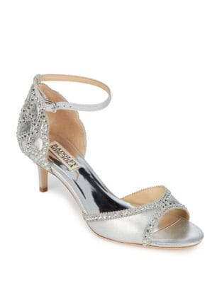 Studded Leather Ankle-Strap Pumps by Badgley Mischka