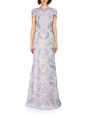 Short Sleeve A-Line Lace Gown by Tadashi Shoji