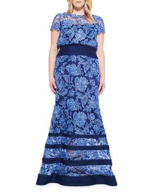 Lace Bateau Neck Dress by Tadashi Shoji