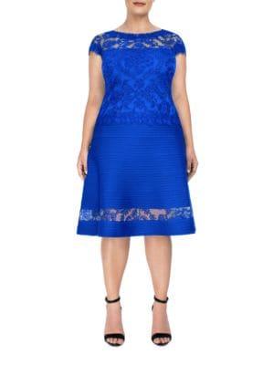 Roundneck Cap-Sleeve Lace Dress by Tadashi Shoji