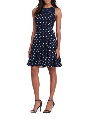 Polka-Dot Fit-and-Flare Dress by Lauren Ralph Lauren