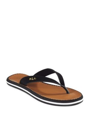 Ryanne Faux Leather Thong Sandals by Lauren Ralph Lauren