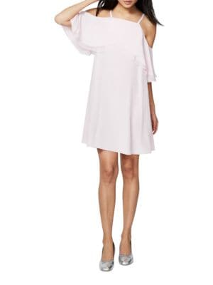 Ruffled Cold Shoulder Trapeze Dress by RACHEL Rachel Roy