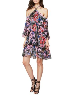 Floral Print Ruffled Cold Shoulder Trapeze Dress by RACHEL Rachel Roy