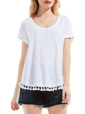 Cotton Slub Tassel Trim Tee by Two by VINCE CAMUTO
