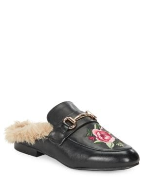 Jill Embroidred Faux Fur Slide Loafers by Steve Madden