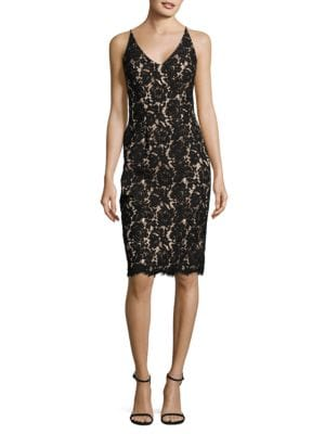 Floral Lace Sheath Dress with Scarf by Vince Camuto