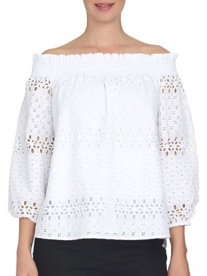Ruched Floral Eyelet Blouse by Cece