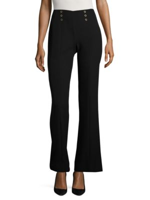 Solid Flared Pleated Pants by Calvin Klein