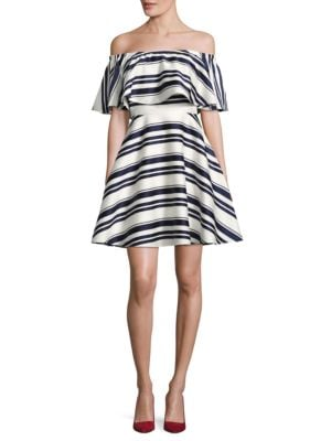Striped Off-the-Shoulder Dress by Belle Badgley Mischka