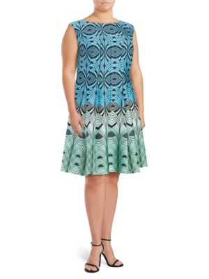 Plus Patterned Pleated Dress by Gabby Skye