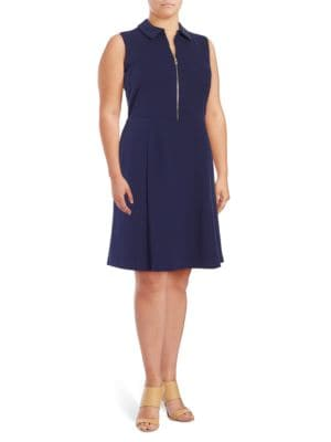 Plus Zip-Accented A-Line Dress by Ivanka Trump