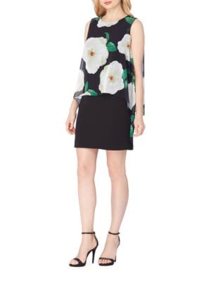 Plus Popover Floral Overlay Dress by Tahari Arthur S. Levine