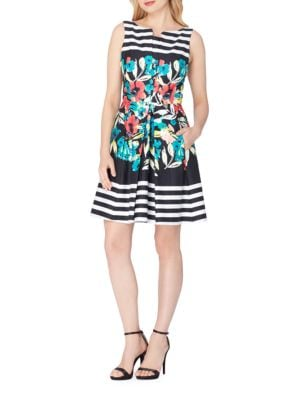 Striped and Floral Fit-and-Flare Dress by Tahari Arthur S. Levine