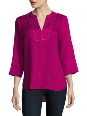 Grommet Accented Three-Quarter Sleeved Linen Top by Ivanka Trump