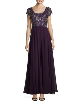 Sequined Chiffon Gown by J Kara