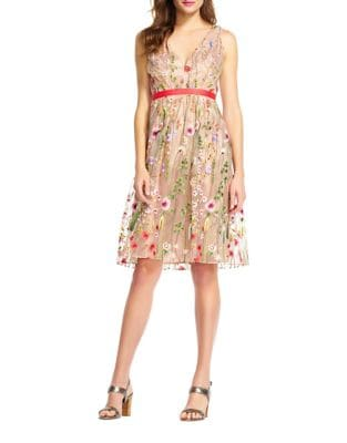 Embroidered Floral Dress by Adrianna Papell