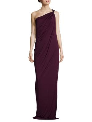 One-Shoulder Draped Jersey Gown by Halston Heritage