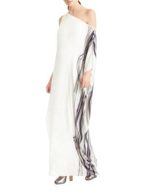 One-Shoulder Printed Gown by Halston Heritage