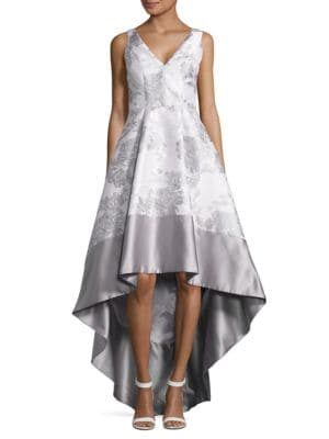 Metallic Jacquard Hi-Lo Flared Gown by Betsy & Adam