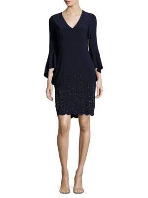 Embellished Bell Sleeved Dress by Calvin Klein