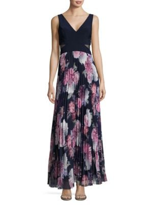 Pleated Floral Gown by Xscape