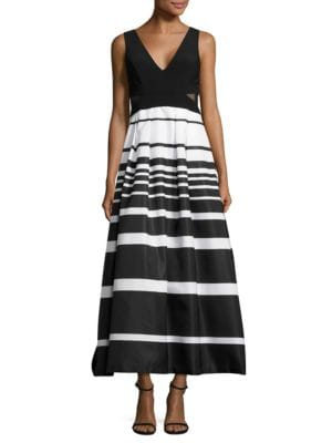 Mesh-Accented Striped Gown by Xscape