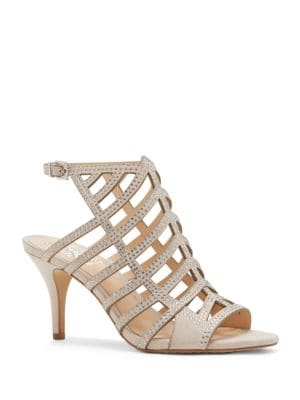 Patinka Leather Mid-Heel Sandals by Vince Camuto