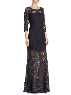 Three-Quarter Sleeve Lace Sheer Gown by Kay Unger