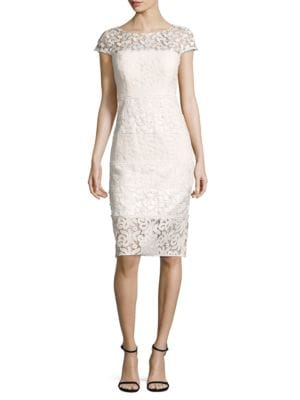 Paneled Lace Sheath Dress by Kay Unger