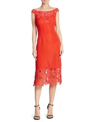 Boat Neck Floral Lace Sheath Dress by Kay Unger