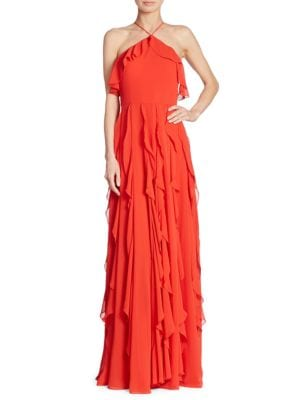Solid Ruffled Halterneck Gown by Kay Unger