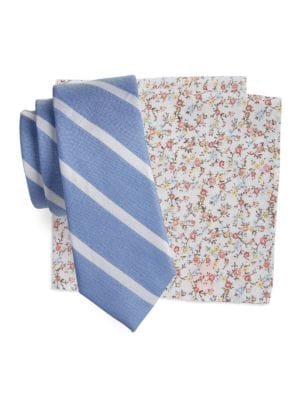 Striped Silk-Blend Tie and Floral Pocket Square Set by Tallia