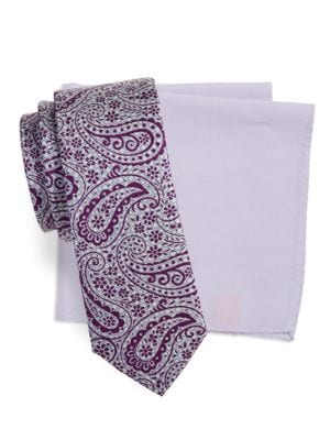Paisley Silk Tie and Pocket Square Set by Tallia