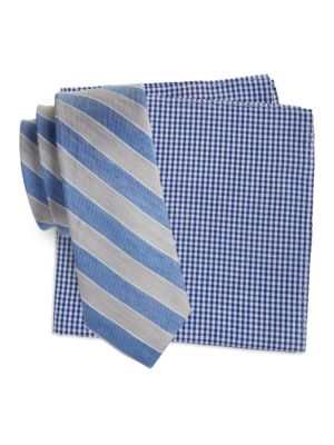 Striped Tie and Gingham Pocket Square Set by Tallia